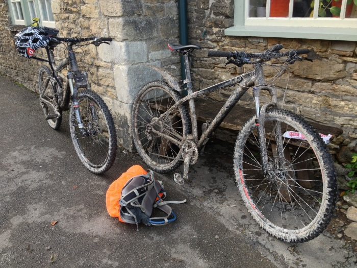 Muddy bikes in Lacock