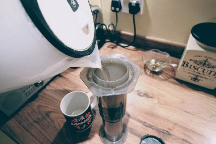 Upside down coffee made with Aeropress